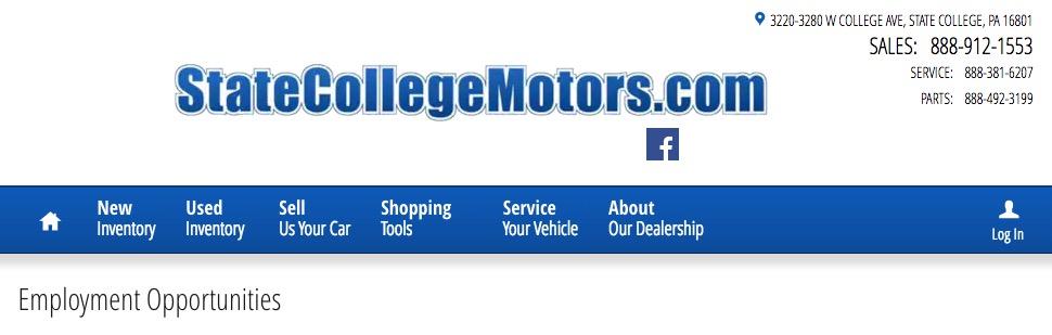 State College Motors >> Service Advisor State College Pa State College Motors Jobs
